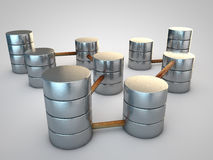 Database. Symbolic silver Database connected by rusty pipes Royalty Free Stock Photo
