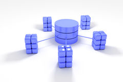 Database. And network architecture isolated over white background royalty free illustration