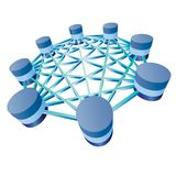 Database. Illustration of database and network architecture isolated over white background