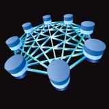 Database. Illustration of database and network architecture isolated over black background stock illustration