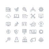 Database analytics and cloud computing vector line icons. Database and analytics, internet database, analytics data information, analysis database server Stock Photos