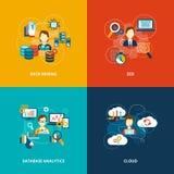 Database analytics icons flat. Set with data mining seo cloud isolated vector illustration Royalty Free Stock Image