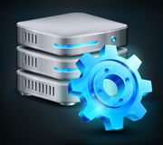 Database And Blue Gear Royalty Free Stock Photography