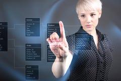 Database background with businessman Stock Photography