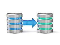 Database backup concept. Creative database backup copy concept - metal hard disk drive database icons with arrow on white stock illustration