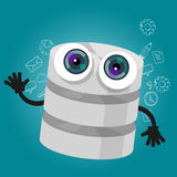 Database big data storage cartoon hands eyes mascot cute funny smile tech object vector Stock Photo