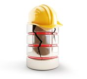 Database broken construction helmet Stock Images