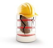 Database broken construction helmet. On a white background Stock Images