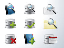 Database and catalog icon set Stock Photos