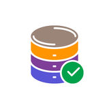 Database with check mark colorful icon Stock Image