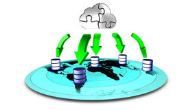 Database Cloud backup. 3d Illustration of database Cloud backup Royalty Free Stock Images