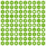 100 database and cloud icons hexagon green. 100 database and cloud icons set in green hexagon isolated vector illustration Stock Image