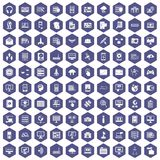 100 database and cloud icons hexagon purple. 100 database and cloud icons set in purple hexagon isolated vector illustration Royalty Free Stock Image
