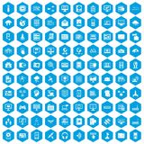 100 database and cloud icons set blue. 100 database and cloud icons set in blue hexagon isolated vector illustration royalty free illustration