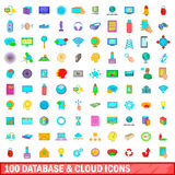 100 database and cloud icons set, cartoon style. 100 database and cloud icons set in cartoon style for any design vector illustration Stock Illustration
