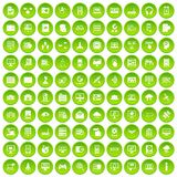 100 database and cloud icons set green circle. Isolated on white background vector illustration Royalty Free Stock Photo