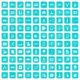 100 database and cloud icons set grunge blue. 100 database and cloud icons set in grunge style blue color isolated on white background vector illustration royalty free illustration