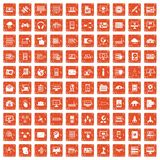 100 database and cloud icons set grunge orange. 100 database and cloud icons set in grunge style orange color isolated on white background vector illustration Stock Photo