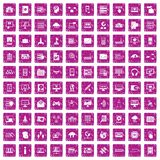 100 database and cloud icons set grunge pink. 100 database and cloud icons set in grunge style pink color isolated on white background vector illustration stock illustration
