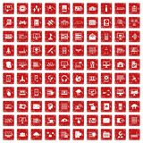 100 database and cloud icons set grunge red. 100 database and cloud icons set in grunge style red color isolated on white background vector illustration Royalty Free Stock Photos