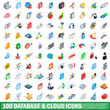 100 database and cloud icons set, isometric style Stock Photography