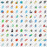 100 database and cloud icons set, isometric style Royalty Free Stock Photography