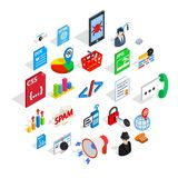 Database cloud icons set, isometric style. Database cloud icons set. Isometric set of 25 database cloud vector icons for web isolated on white background Royalty Free Stock Photography
