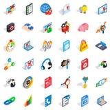 Database cloud icons set, isometric style. Database cloud icons set. Isometric style of 36 database cloud vector icons for web isolated on white background Royalty Free Stock Photos