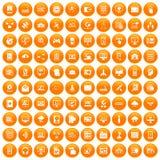 100 database and cloud icons set orange. 100 database and cloud icons set in orange circle isolated on white vector illustration Stock Image