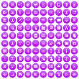 100 database and cloud icons set purple. 100 database and cloud icons set in purple circle isolated on white vector illustration Royalty Free Illustration