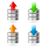 Database. Computer Database with Upload and Download Arrows. Illustration on white Royalty Free Stock Image