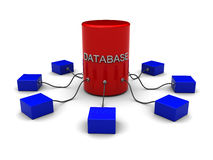 Database concept. 3d conceptual illustration of database over white background Royalty Free Stock Photography