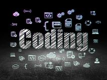 Database concept: Coding in grunge dark room. Database concept: Glowing text Coding,  Hand Drawn Programming Icons in grunge dark room with Dirty Floor, black Royalty Free Stock Photo