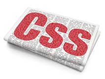 Database concept: Css on Newspaper background Stock Photography