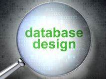 Database concept: Database Design with optical glass. Database concept: magnifying optical glass with words Database Design on digital background, 3D rendering Stock Photo