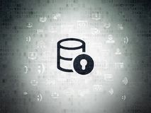 Database concept: Database With Lock on Digital Data Paper background Stock Photos