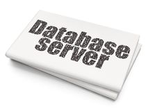 Database concept: Database Server on Blank Newspaper background. Database concept: Pixelated black text Database Server on Blank Newspaper background, 3D Royalty Free Stock Images