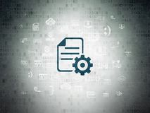 Database concept: Gear on Digital Data Paper background. Database concept: Painted blue Gear icon on Digital Data Paper background with  Hand Drawn Programming Royalty Free Stock Photography