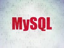 Database concept: MySQL on Digital Data Paper background