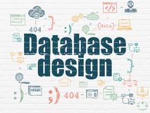 Database concept: Database Design on wall background Stock Photography