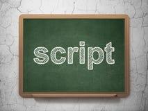 Database concept: Script on chalkboard background. Database concept: text Script on Green chalkboard on grunge wall background, 3D rendering Stock Image