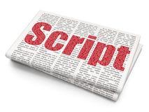 Database concept: Script on Newspaper background. Database concept: Pixelated red text Script on Newspaper background, 3D rendering Royalty Free Stock Photos