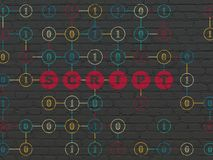 Database concept: Script on wall background. Database concept: Painted red text Script on Black Brick wall background with Binary Code Stock Photography