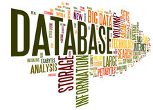 Database concept in word cloud Stock Photos