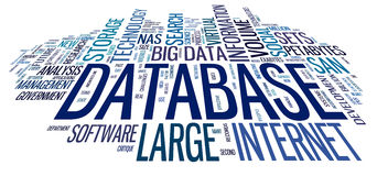 Database concept in word cloud Royalty Free Stock Images