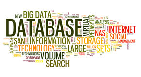 Database concept in word cloud Royalty Free Stock Photo