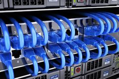 Database and connect cable server Stock Photography