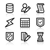 Database contour web icons Stock Images