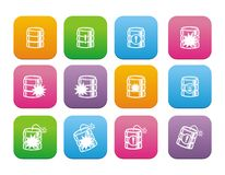 Database crash flat style icon sets Royalty Free Stock Photography