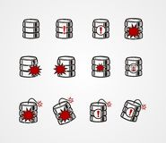 Database crash icon sets Stock Images
